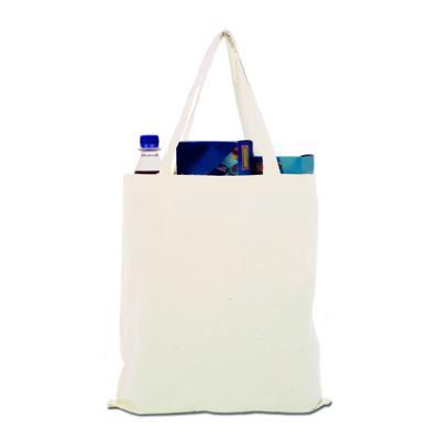 印花天然棉布袋,长柄,非常适合购物和展览